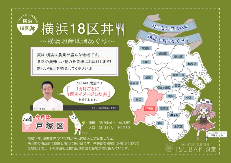 横浜18区の人とまちがつながる TSUBAKI食堂 18区丼プロジェクト
